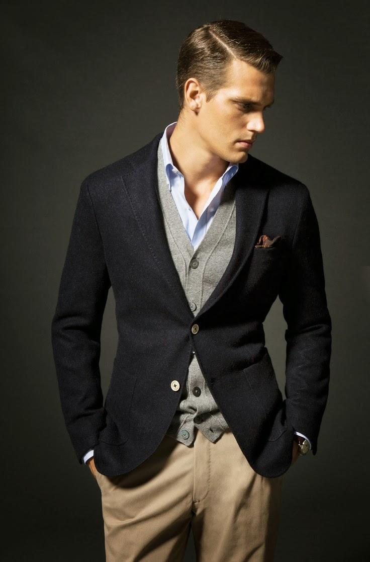4 cách phối đồ với áo vest nam màu xanh-elle man4