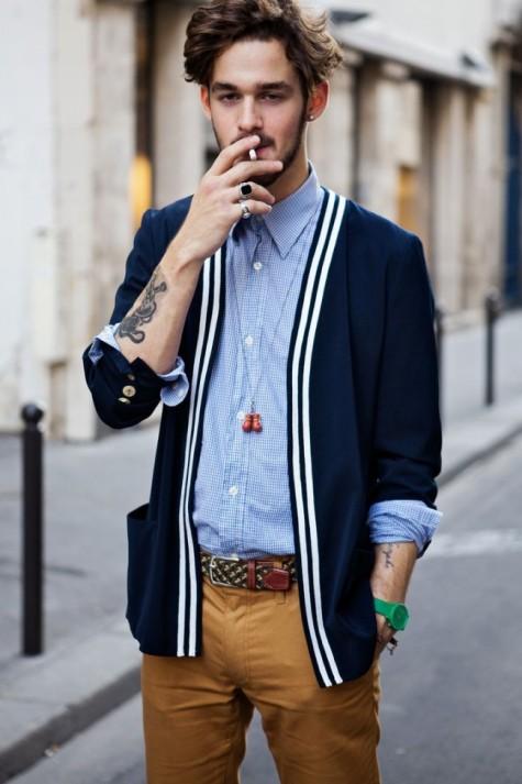 cách phối đồ nam với áo cardigan cho mùa thu