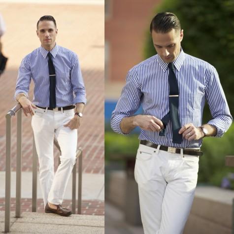 Trẻ trung hơn với sơ mi và quần jean trắng cho những ngày không cần gặp gỡ đối tác