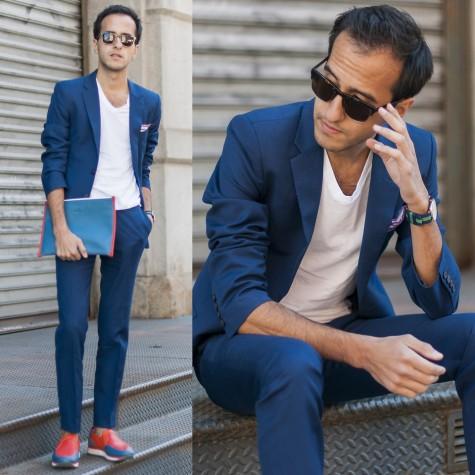 """Sneaker với màu sắc """"mix and match"""" với màu của suit và clutch"""