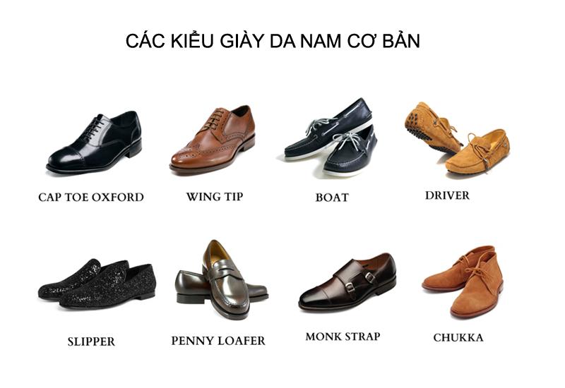 8 kiểu giày da cơ bản của nam giới.