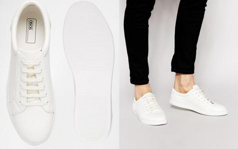 Một sản phẩm trainer trắng tối giản của thương hiệu ASOS.