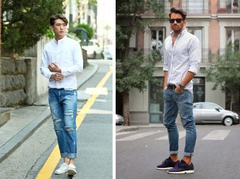 jeans với sơ mi rắng luôn là set đồ phải có của những anh chàng hiện đại, năng động. Đối với những người to con, sơ mi trắng sọc sẽ khiến cơ thể trông gọn hơn.