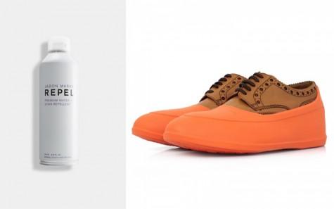 Sản phẩm xịt chống nước và miếng bọc giày đi mưa.