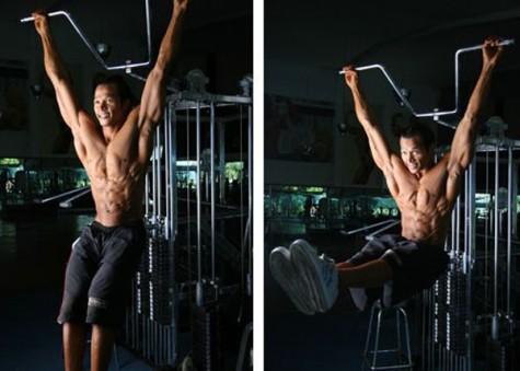 các bài tập cơ bụng hiệu quả - treo người nâng chân - elleman