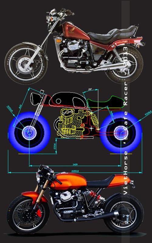 Phác thảo hình dung cơ bản cách độ xe từ nguyên bản thành Cafe Racer.