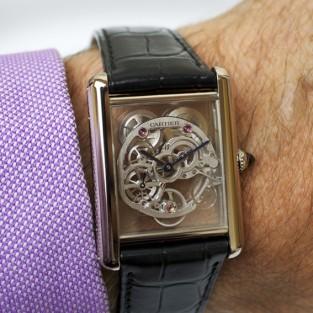 "Đồng hồ Cartier nam ""Tank Louis"" Skeleton Sapphire"