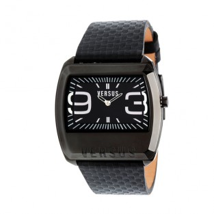 3C60700000 'Angle' Black Leather Watch