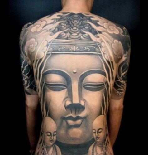 hình xăm nghệ thuật - hình Phật - elle vietnam