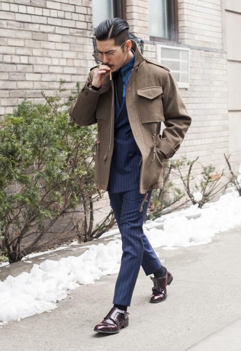cách phối đồ vest với các kiểu áo khoác - field jacket - elleman