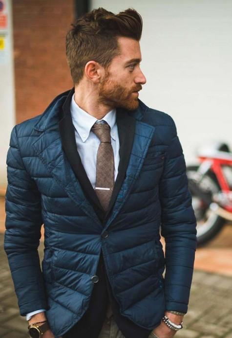 cách phối đồ vest với các kiểu áo khoác - quilted jacket - elleman