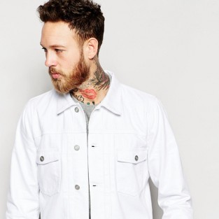 Các xu hướng áo & quần jeans nam hot 2016 - White Asos jeans jacket - elleman