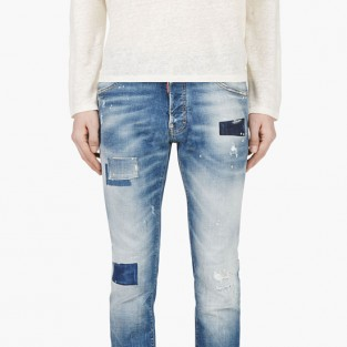 Các xu hướng áo & quần jeans nam hot 2016 - embellished DSquared2 patchwork blue - elleman