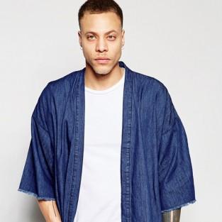 Các xu hướng áo & quần jeans nam hot 2016 - japanese ASOS Denim Kimono with Frayed Hem - elleman