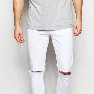 quần jeans nam trắng - ASOS Skinny Jeans In White With Knee Rips - elleman