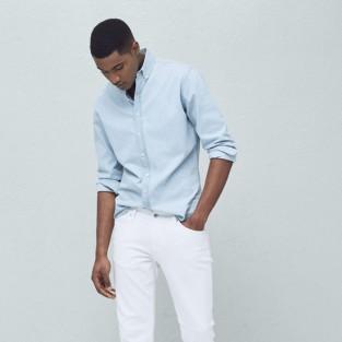 quần jeans nam trắng - Mango Slim-fit white Jan jeans - elleman