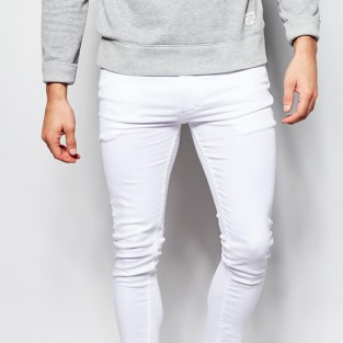 quần jeans nam trắng - Religion Vice Super Skinny Stretch White Jeans with Cut Hem - elleman