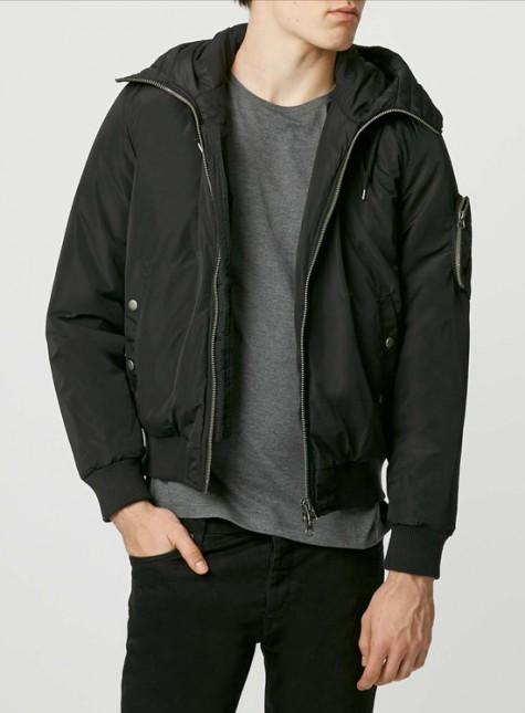Đen - phong cách thời trang - Topman bomber - elle man