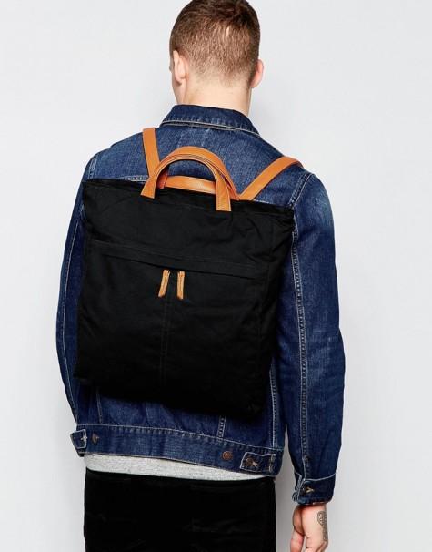 phụ kiện nam Xuân Hè 2016 - ASOS Backpack Tote Hybrid In Black Canvas - elleman