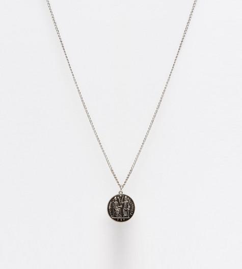 phụ kiện nam Xuân Hè 2016 - ASOS Coin Necklace In Silver- elleman