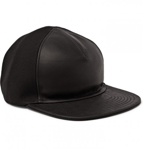 phụ kiện nam Xuân Hè 2016 - BALMAIN LEATHER AND COTTON BASEBALL CAP - elleman