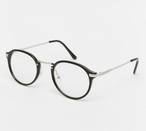 phụ kiện nam Xuân Hè 2016 - Jeepers Peepers Casper Round Clear Lens Glasses In Black - elleman