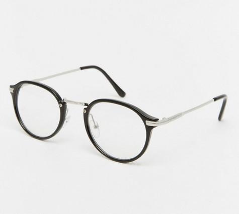 phụ kiện nam Xuân Hè 2016 - Jeepers Peepers Casper Round Clear Lens Glasses In Black - elleman
