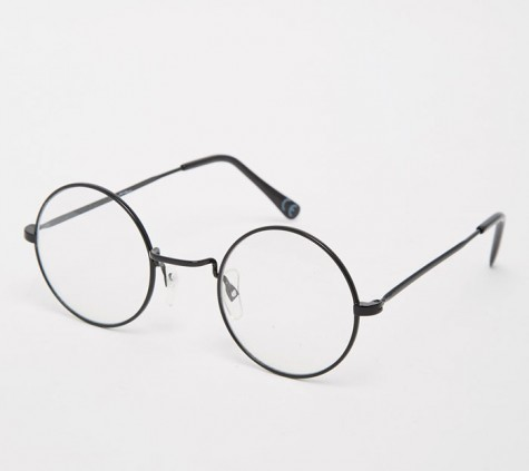 phụ kiện nam Xuân Hè 2016 - Jeepers Peepers Round Clear Lens Glasses In Black Metal - elleman
