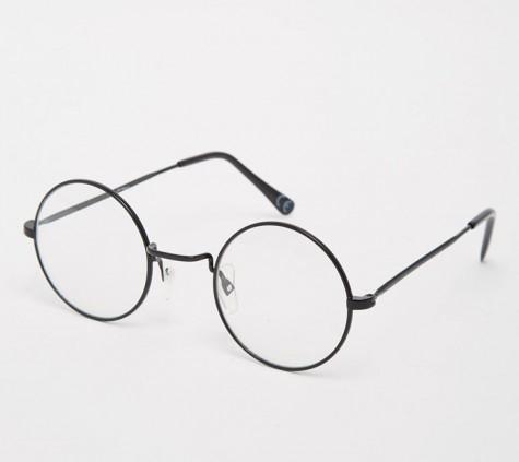 phụ kiện nam Xuân Hè 2016 - Jeepers Peepers Round Clear Lens Glasses In Black Metal - elleman