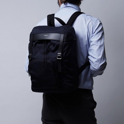 phụ kiện nam Xuân Hè 2016 - SAINT LAURENT HUNTING CANVAS AND LEATHER BACKPACK - elleman