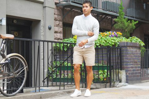 Thời trang Hè 2016 Phối đồ như một quý ông - oxford shirt + shorts + sweater 23- elle man