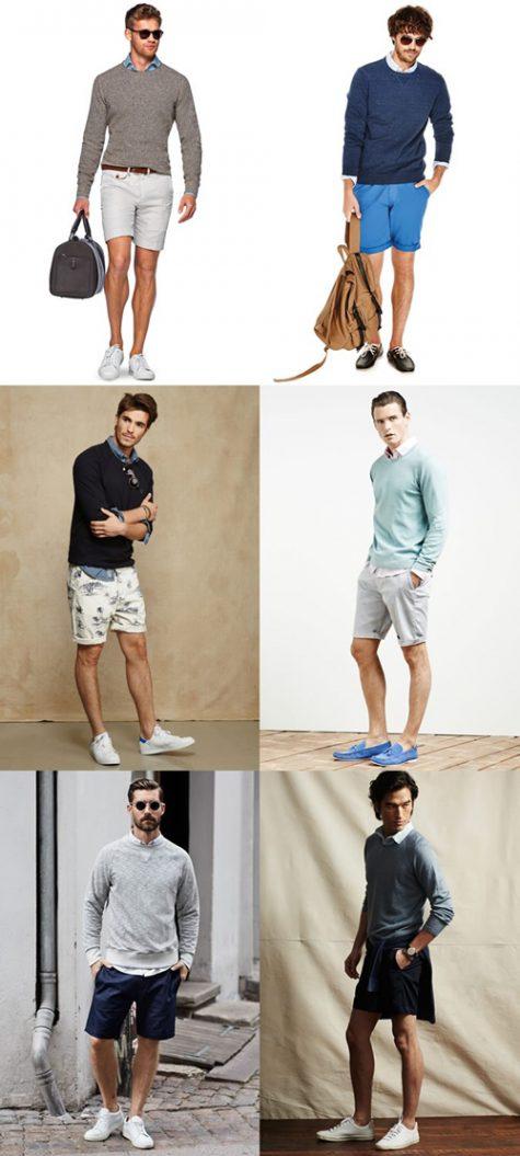 Thời trang Hè 2016 Phối đồ như một quý ông - oxford shirt + shorts + sweater - elle man