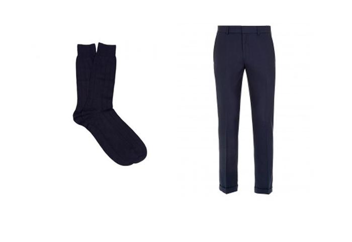quần tây, tất vớ, giày tây nam elleman 1 - navy cotton-blend socks 1