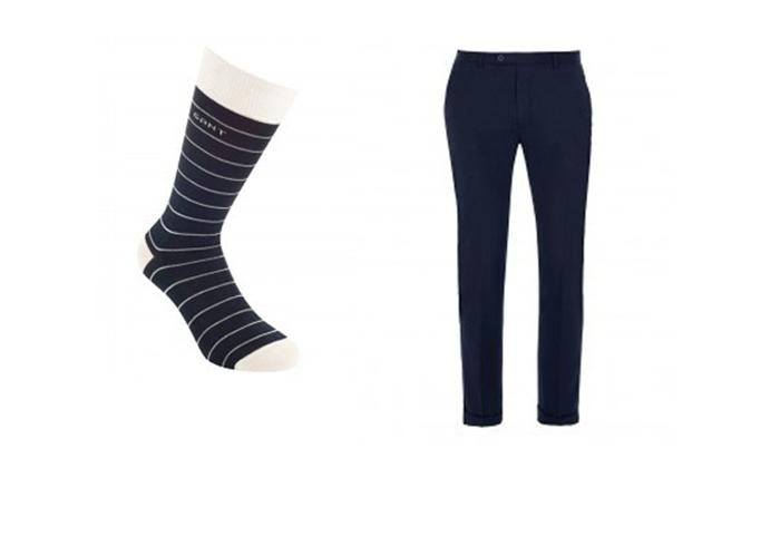 quần tây, tất vớ, giày tây nam elleman 5 - navy white-stripes socks 1