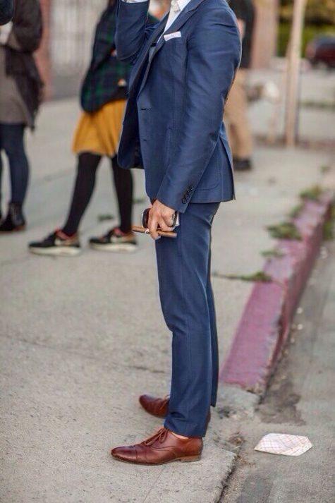 quần tây, tất vớ, giày tây nam elleman 6 - navy trousers and brown shoes