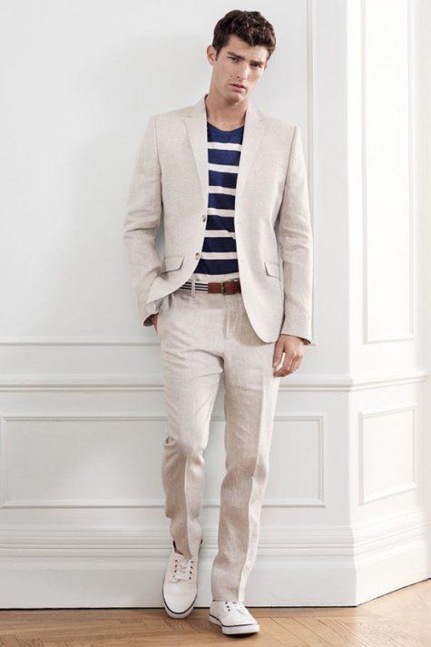 5 phong cách thời trang cực chất phối cùng màu trung tính - beige suits + white shirt 3 - elle man