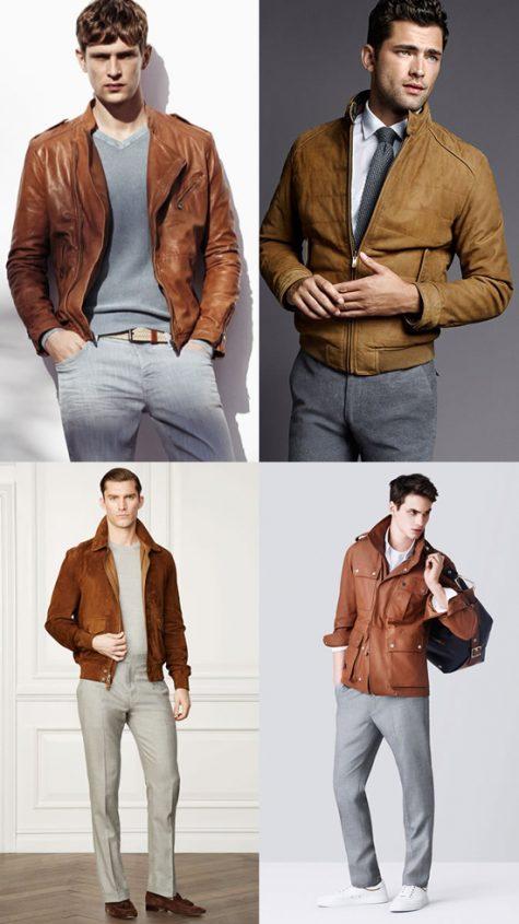 5 phong cách thời trang cực chất phối cùng màu trung tính - tan jacket + grey trousers - elle man