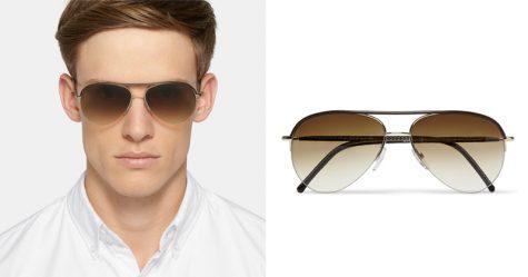 5 lỗi phong cách thời trang cần tránh trong mùa Hè - CUTLER AND GROSS Aviator-Style Leather-Trimmed Acetate Sunglasses (£325) - elle man
