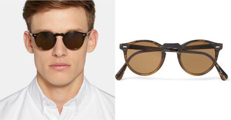5 lỗi phong cách thời trang cần tránh trong mùa Hè - OLIVER PEOPLES Gregory Peck Round-Frame Acetate Sunglasses £191.67 - elle man