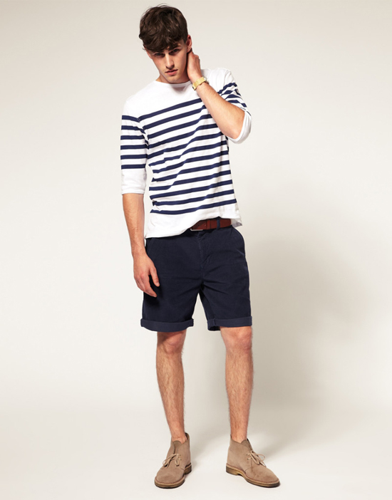 quần short nam - chinos + áo breton 1 - elle man