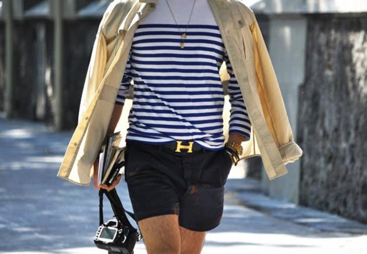 quần short nam - chinos + áo breton 3 - elle man