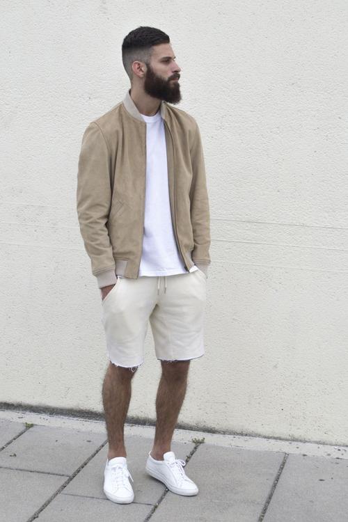 quần short nam - jeans + áo thun 1 - elle man