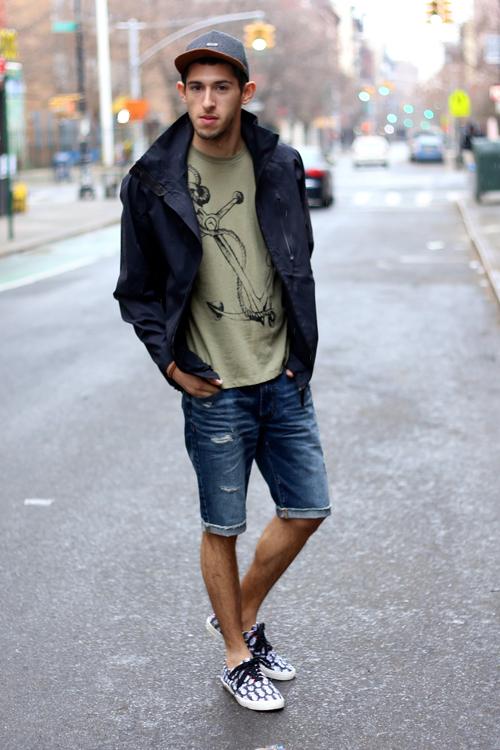 quần short nam - jeans + áo thun 3 - elle man