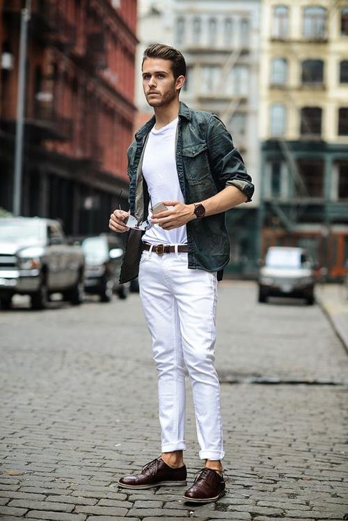 quan jeans nam - jeans trang - elle man 2