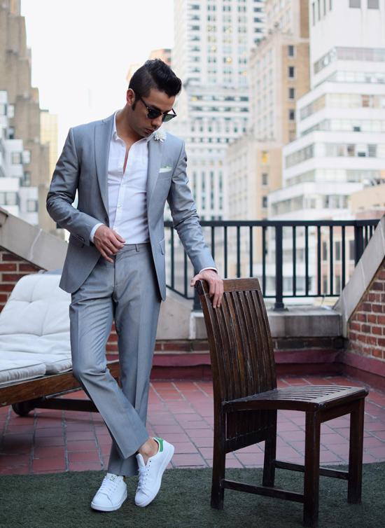 suit nam mau xam - mid grey suit & stan - elle man