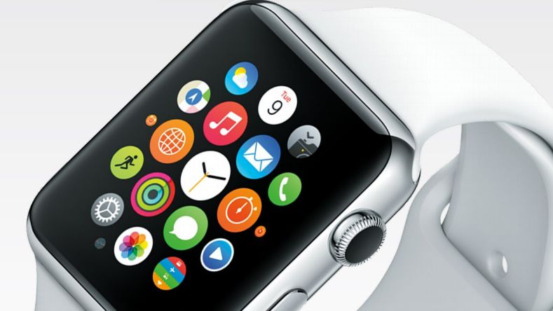 đồng hồ nam Apple Watch màu trắng, mặt đen.