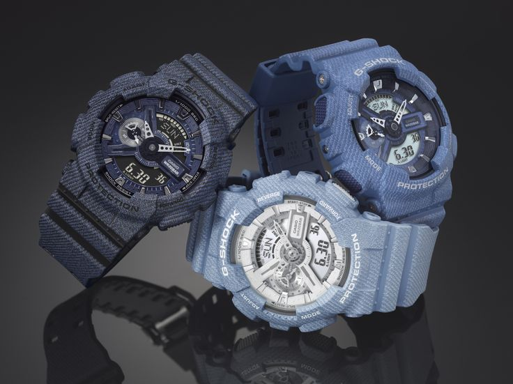 đồng hồ nam: bộ 3 đồng hồ G-shock màu xanh.