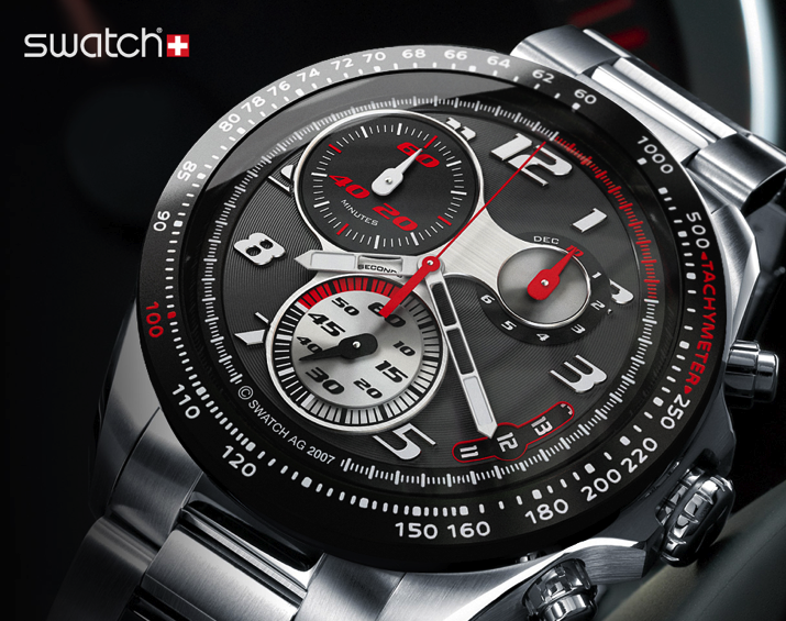 đồng hồ nam Swatch kim loại có chi tiết đỏ bạc trên nền đen.