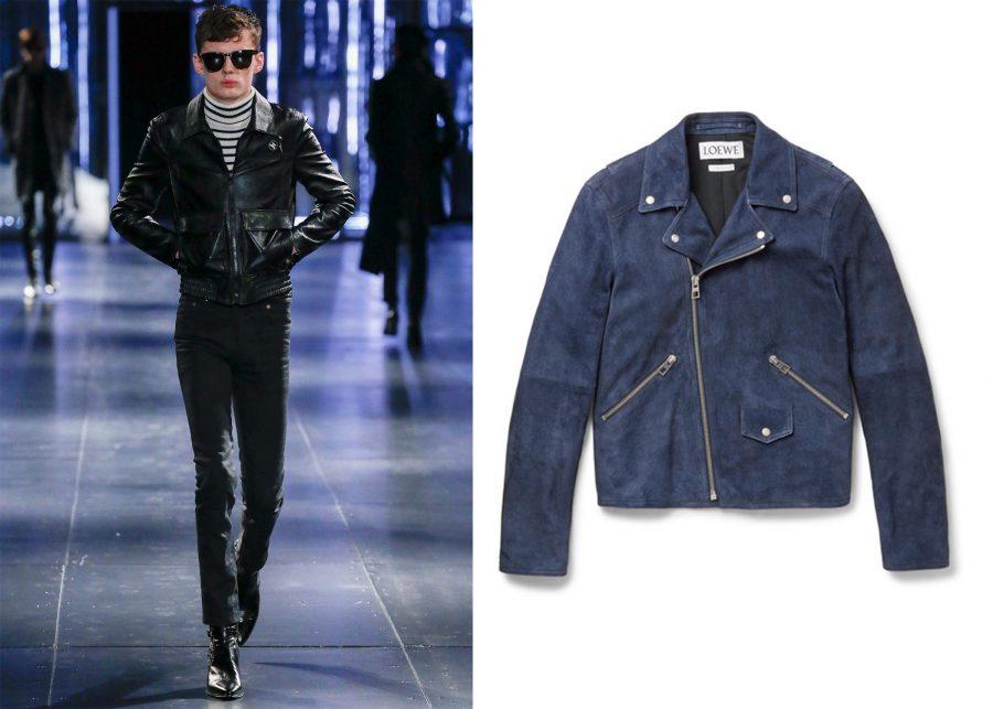Áo cổ lọ Saint Laurent Striped Rollneck Sweater và Loewe Suede Jacket