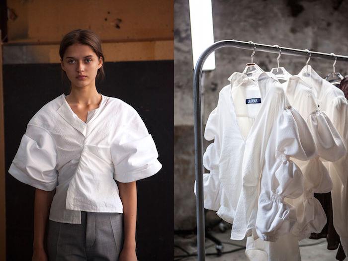 Simon Porte Jacquemus, người mẫu và giá trao áo sơ mi màu trắng.